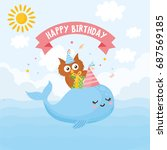 happy birthday greeting card.... | Shutterstock .eps vector #687569185