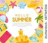 hello summer card. vector... | Shutterstock .eps vector #687569266