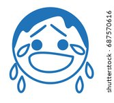 sad emoji in tears  crying... | Shutterstock .eps vector #687570616