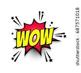lettering wow boom star. comics ... | Shutterstock .eps vector #687571018