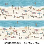 two seamless banners of tiny... | Shutterstock .eps vector #687572752
