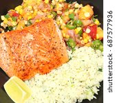 pan fried salmon fillet with... | Shutterstock . vector #687577936