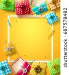 birthday template with colorful ... | Shutterstock .eps vector #687578482