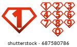 super hero logo numbers... | Shutterstock .eps vector #687580786