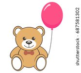 toy bear with air balloon | Shutterstock .eps vector #687581302