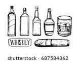 whiskey set with bottles of... | Shutterstock .eps vector #687584362