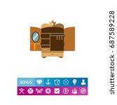 open empty wardrobe icon | Shutterstock .eps vector #687589228