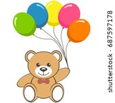 toy bear with colorful air... | Shutterstock .eps vector #687597178