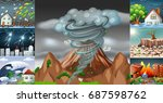 scenes with different disasters ... | Shutterstock .eps vector #687598762