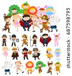 children in halloween costumes... | Shutterstock .eps vector #687598795