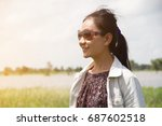 woman stand smile happy on... | Shutterstock . vector #687602518