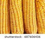 Dry Yellow Corn Isolated Food...