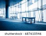 modern building hallway with... | Shutterstock . vector #687610546
