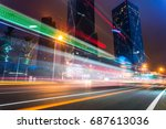 illuminated modern skyscrapers... | Shutterstock . vector #687613036