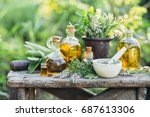 fresh herbs from the garden and ... | Shutterstock . vector #687613306