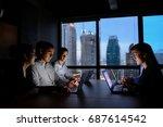 business man and business woman ... | Shutterstock . vector #687614542