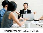 business negotiation  male... | Shutterstock . vector #687617356