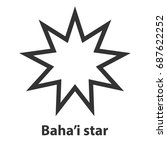 icon of bahai nine pointed star ...   Shutterstock . vector #687622252