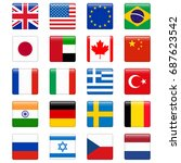 set of popular country flags.... | Shutterstock . vector #687623542
