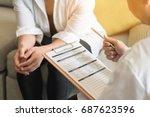 doctor  gynecologist or... | Shutterstock . vector #687623596
