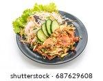 fresh salmon raw spicy salad... | Shutterstock . vector #687629608