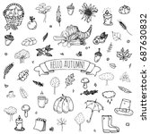 hand drawn doodle autumn icons... | Shutterstock .eps vector #687630832
