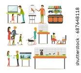 set of zoo shop concept design... | Shutterstock . vector #687648118