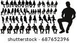 vector  set of sitting men... | Shutterstock .eps vector #687652396