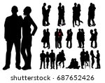 silhouette of guy and girl  set | Shutterstock .eps vector #687652426
