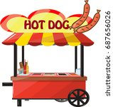 vector hot dog cart  | Shutterstock .eps vector #687656026