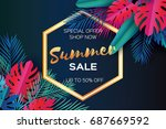 trendy summer sale template... | Shutterstock .eps vector #687669592