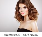brunette woman with long and... | Shutterstock . vector #687670936
