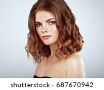 brunette woman with long and... | Shutterstock . vector #687670942