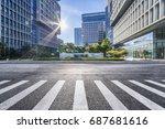 empty floor with modern... | Shutterstock . vector #687681616