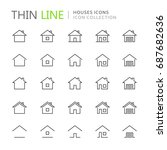 collection of houses thin line... | Shutterstock .eps vector #687682636