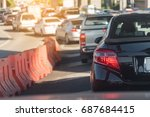 traffic jam with row of cars on ... | Shutterstock . vector #687684415