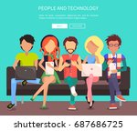 people and technology web... | Shutterstock .eps vector #687686725