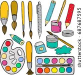 colorful hand drawn doodle... | Shutterstock .eps vector #687687595