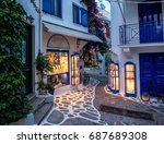 beautiful old  narrow alley... | Shutterstock . vector #687689308
