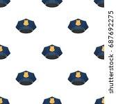 police cap icon in cartoon... | Shutterstock .eps vector #687692275