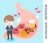 businessman with heartburn on...   Shutterstock .eps vector #687693136