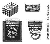 vintage silkskreen print emblems | Shutterstock .eps vector #687696622