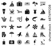 summer icons set. simle style... | Shutterstock .eps vector #687699208