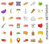 barbecue food icons set.... | Shutterstock .eps vector #687704545