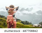 woman traveler with backpack... | Shutterstock . vector #687708862