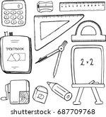vector set  school stationary...   Shutterstock .eps vector #687709768