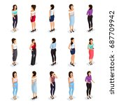 trendy isometric people 3d... | Shutterstock .eps vector #687709942