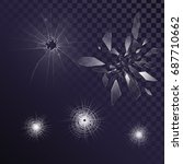 vector glass fragments  cracks  ... | Shutterstock .eps vector #687710662