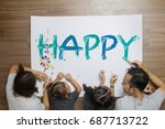 family lying paint happy words... | Shutterstock . vector #687713722