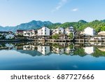 old village traditional chinese ... | Shutterstock . vector #687727666